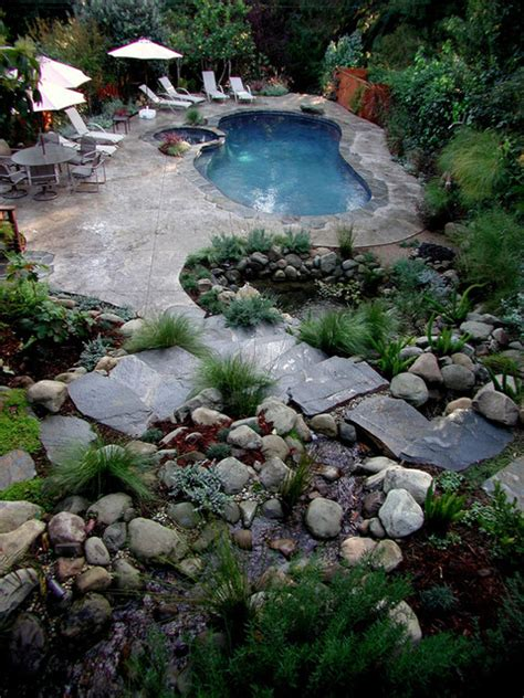 Backyard Los Angeles Swimming Pools Rustic Pool Los Angeles By Stout