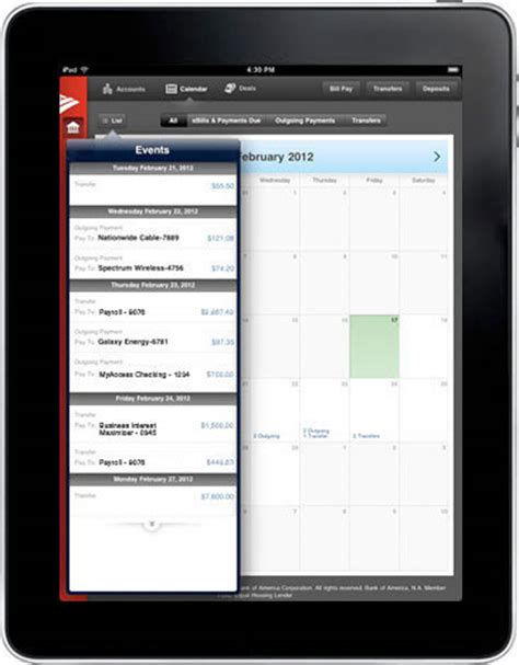 Calendar Contextual Images Mobile Banking Features Offered By Bank Of America Small