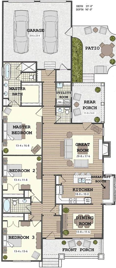 open great room floor plans long narrow house with possible open floor plan for the