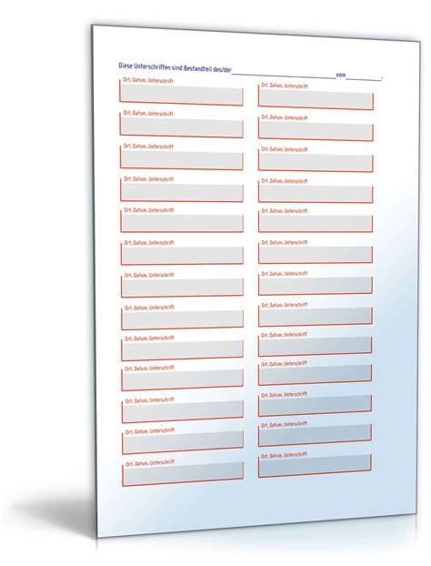Word Vorlage Unterschriftenliste Unterschriften Anhang Muster Zum
