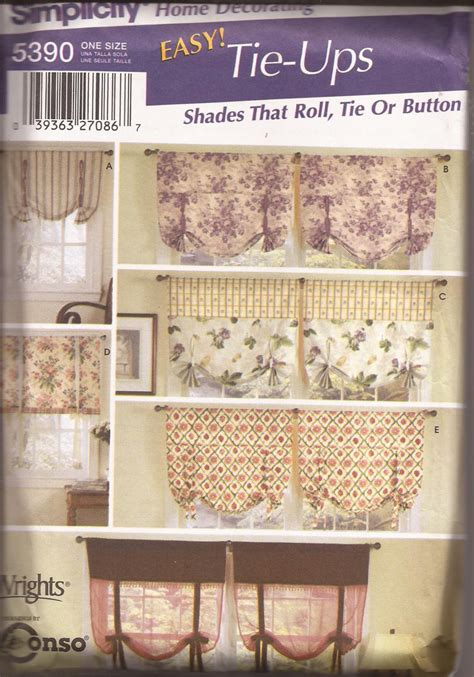 simplicity 5390 sewing pattern tie up shades by simplicity 5390 2003 roll tie button window shades