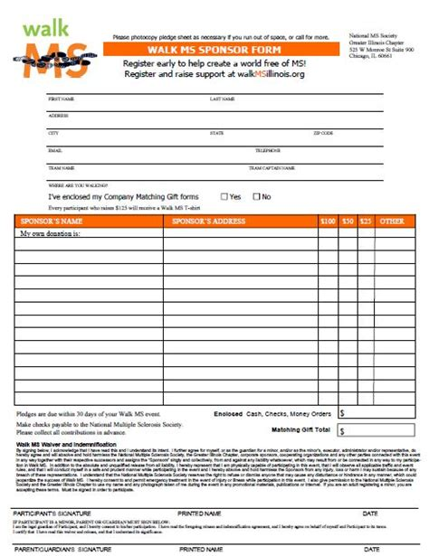 sponsorship pledge form template sle donation sheet silent auction bid sheet free