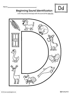 color that starts with letter d letter d beginning sound color pictures worksheet cll