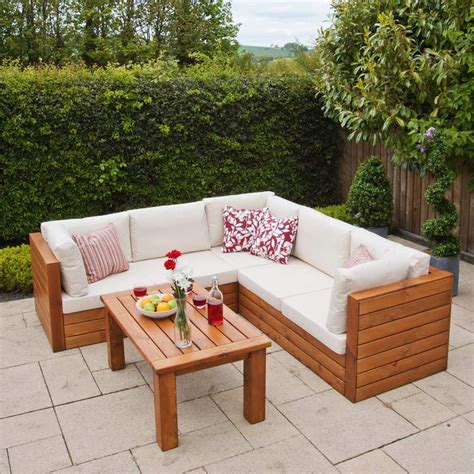 wooden garden sofa set ellister genoa fsc pine corner sofa garden set with table