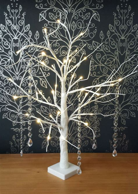 White Table Top White Manzanita Wishing Tree With Led Lights Home