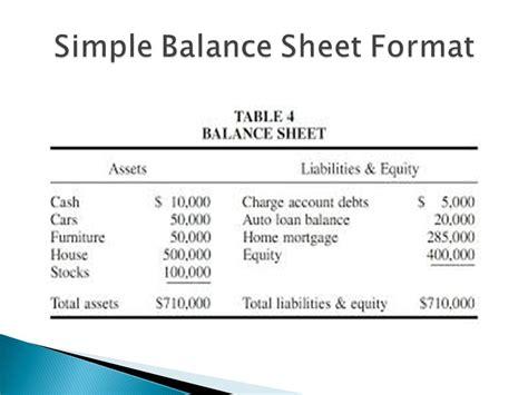 simple balance sheet simple personal balance sheet
