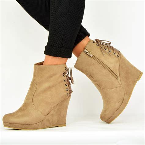 Best Seller Platform Boots Side Zipp Cm15 Hitam Termurah new womens wedge ankle boots back lace side zip platform booties shoes uk ebay