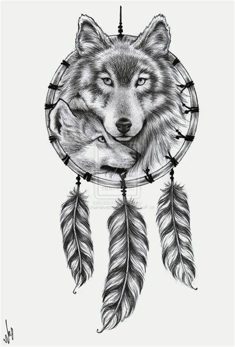 wolf and dreamcatcher tattoo collection of 25 american wolf dreamcatcher