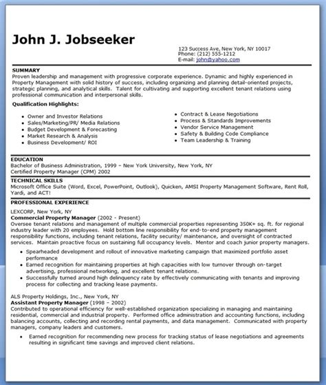 Resume Templates Property Manager assistant property manager resume template