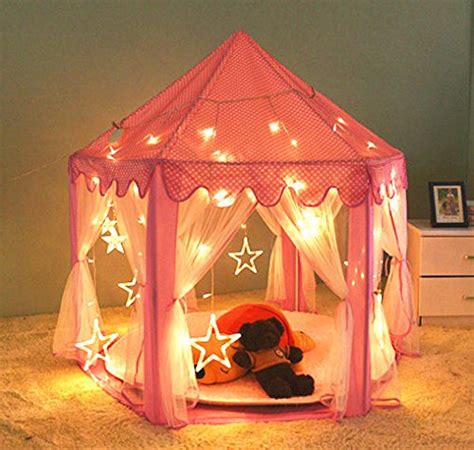 kids tent with lights tent playhouse canopy princess castle kids girls toys play