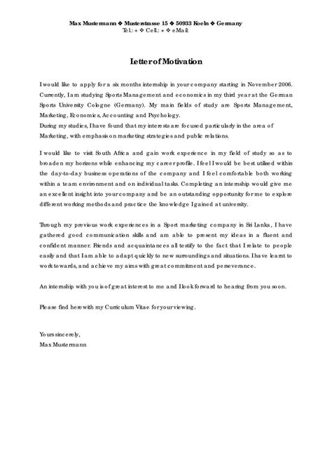 Motivation Letter For It Exles Motivation Letter Cvs