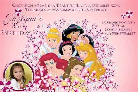 disney princess birthday invitations custom disney princess custom birthday invitation
