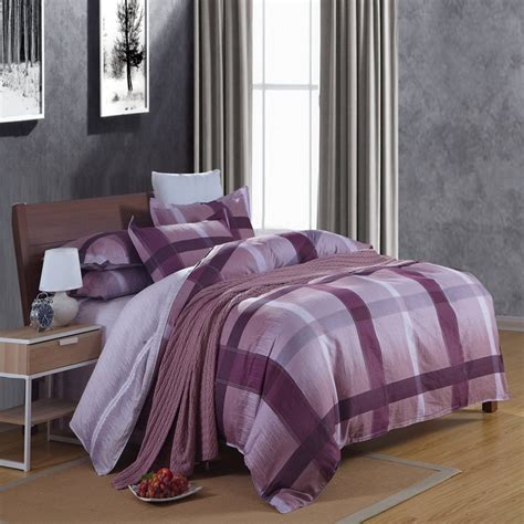 Allergic To Comforter by Modern Plaid Purple Blue Comforter Duvet Cover Set 4pcs