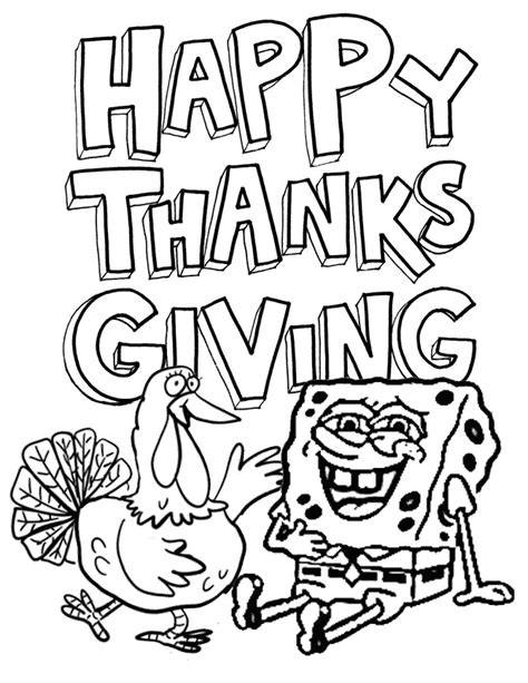 Spongebob Thanksgiving Coloring Pages spongebob and turkey coloring page h m coloring pages
