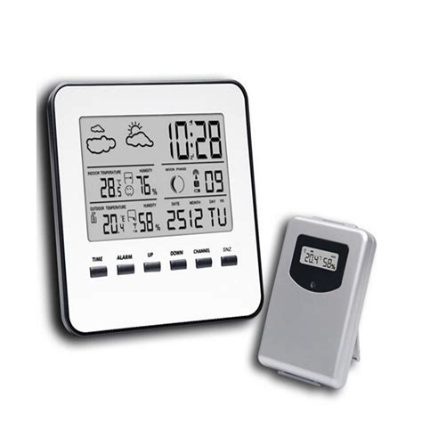 wireless lcd digital home thermometer hygrometer silver