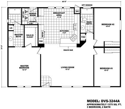 cavco homes floor plans value 3244a 3 bed 2 bath 1375 sqft affordable home for