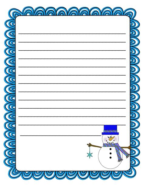 Lined Paper With Snowman Border | literacy minute snowman writing paper freebie teacher