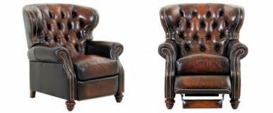 Hooker Furniture Desk Chesterfield Leather Button Tufted Reclining Wingback Arm