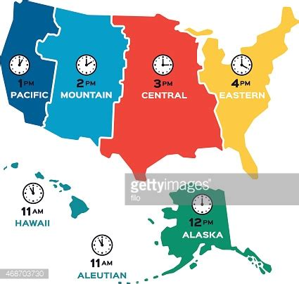us map time zone clock united states time zones flat design vector getty images