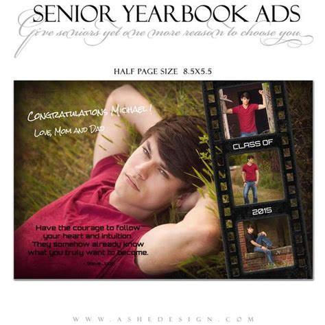 Senior Yearbook Ads For Photoshop Film Strip Grunge Ashedesign Senior Yearbook Ad Templates