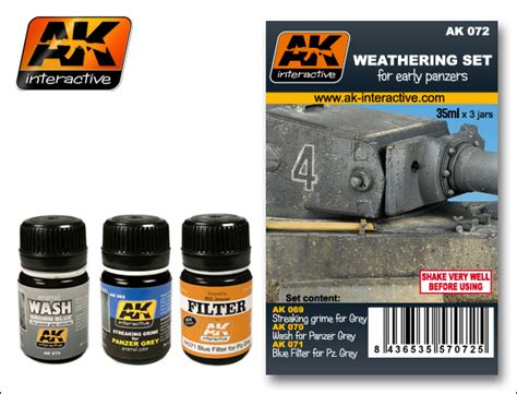 ak 072 weathering set for early panzers ak interactive 072