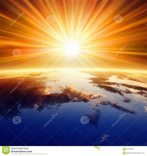 sun above earth stock image image of orange power earth