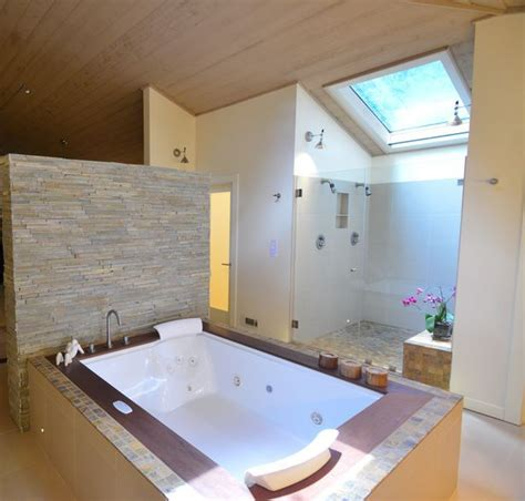 hot tub in bathroom the master bathroom has a jacuzzi two person hot tub with