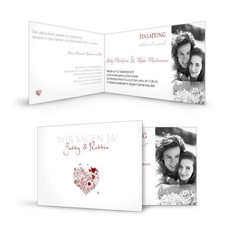 Hochzeitseinladungen Schlicht Modern by Einladungskarte Zur Hochzeit Schlicht Wei 223 Und Romantisch