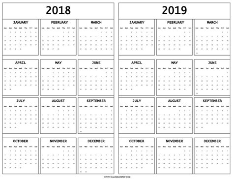 Printable Calendar 2018 To 2019 Printable Monthly Calendar Templates 2018 2019 Calendar Template