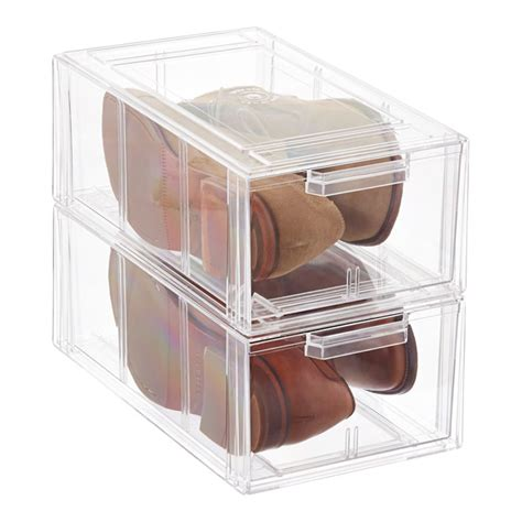 container store shoe storage clear stackable s athletic shoe drawer the