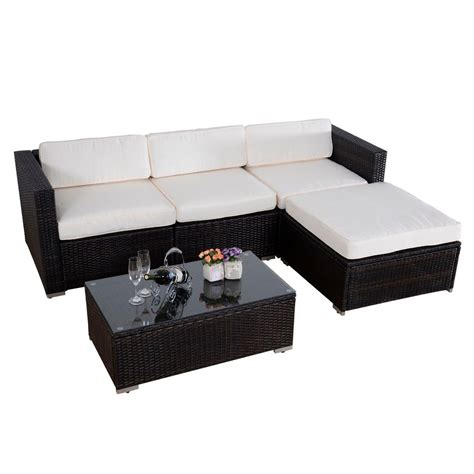 wicker sectional sofa outdoor convenience boutique outdoor 5 pc patio pe wicker rattan