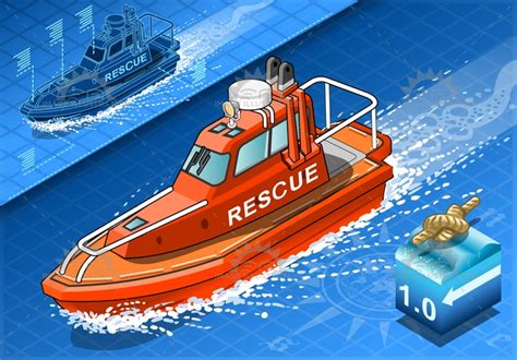 rescue boat clipart rescue boat isometric vehicle image illustration