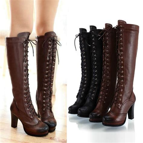 womens knee high boots leather lace up zipper