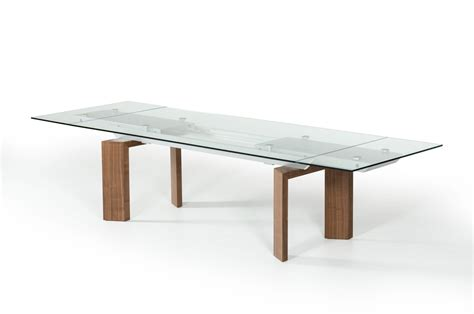 Walnut And Glass Dining Table Modrest Bijou Contemporary Extendable Walnut Glass Dining Table