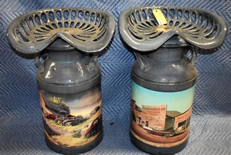 Tractor Seat Milk Can Stool by Pair Of Milk Can Tractor Seat Bar Stools