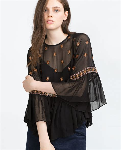 02394 White Embroderie Outer Blouse zara embroidered top in black lyst