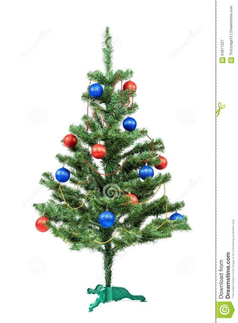 blue and white decorated tree tree decorated and blue balls stock photo