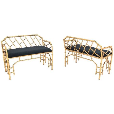 window benches for sale pair of gold gilt metal faux bamboo upholstered window