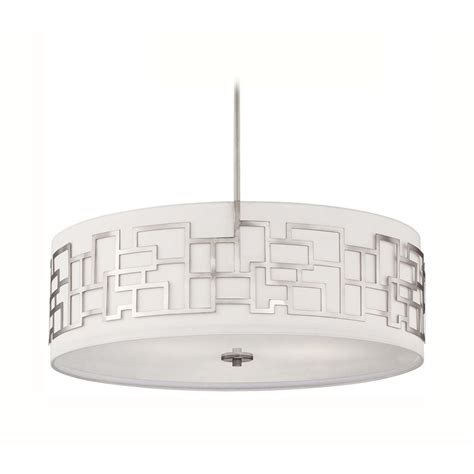 Modern White Nickel Drum Shade Modern Drum Pendant Light With White Shade In Brushed