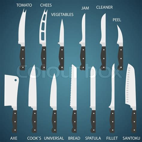 full set flat icons of kitchen knives with signature names