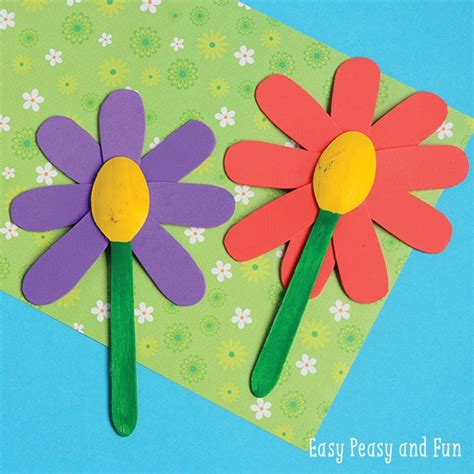 flower and craft for wooden spoon flower craft easy peasy and