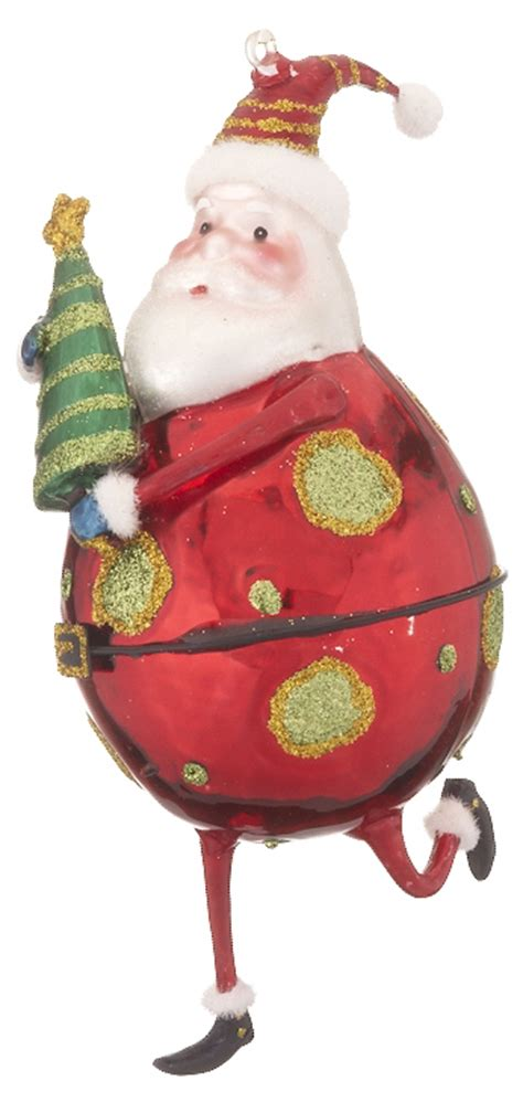 santa holding tree personalized ornament