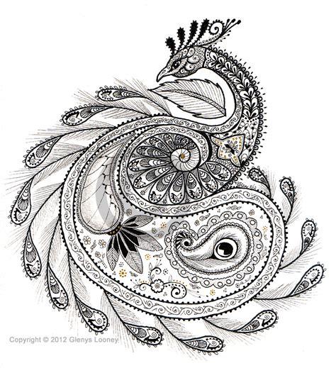 zentangle pattern peacock zentangle paisley peacock 169 glenys looney zentangle