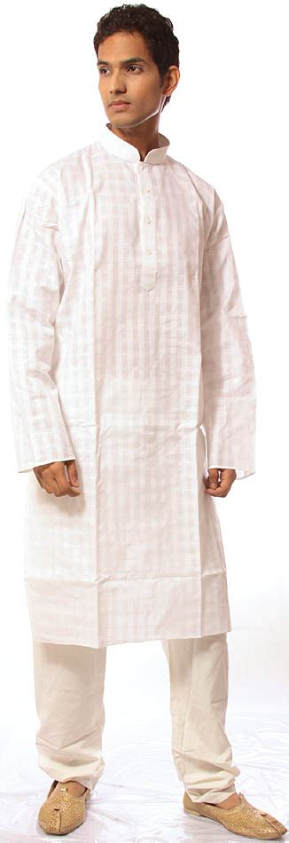 Background Check On Self Ivory Kurta Set With Checks In Self