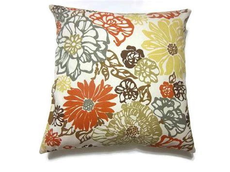 brown yellow pillows decorative pillow cover orange tangerine olive green