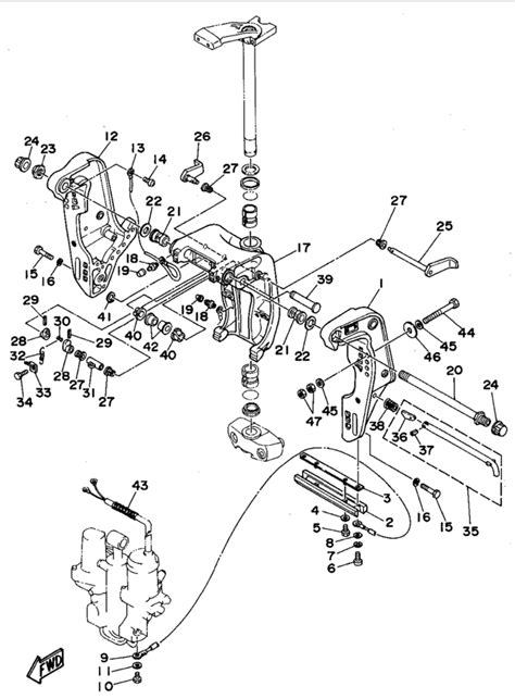 yamaha outboard motor parts diagram 1994 yamaha bracket 1 parts for 75 hp c75tlrs outboard motor