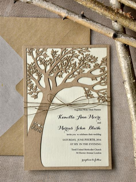 laser cut tree wedding invitations wedding invitations lasercut engraved