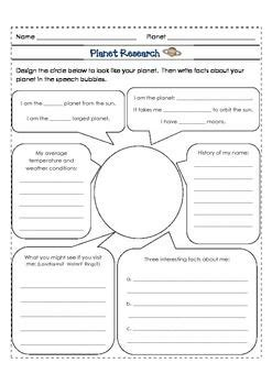 Planet Research Pack 4th Grade Writing Graphic Organizers And Graphics 4th Grade Animal Research Project Template