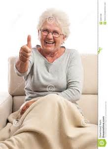 Reclining Sofa With Massage Very Happy Old Woman Thumb Up Royalty Free Stock Photos