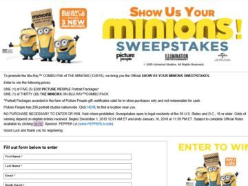 Minions Sweepstakes - show us your minions sweepstakes